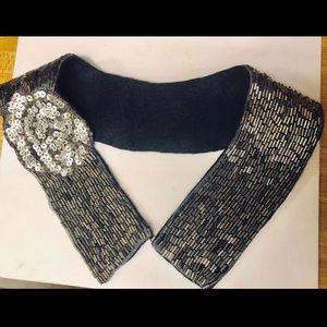 Beaded grey collar fashion accessory embellishment